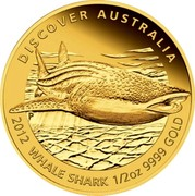 Australia 50 Dollars Discover Australia - Whale Shark 2012 KM# 1728 DISCOVER AUSTRALIA 2012 WHALE SHARK 1/2 OZ 9999 GOLD P coin reverse