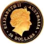 Australia 50 Dollars Frill-neck lizard 2008 P Proof KM# 1200 ELIZABETH II AUSTRALIA ∙ 50 DOLLARS ∙ IRB coin obverse