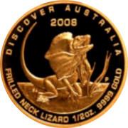 Australia 50 Dollars Frill-neck lizard 2008 P Proof KM# 1200 DISCOVER AUSTRALIA FRILLED NECK LIZARD 1/2 OZ. 9999 GOLD 2008 coin reverse