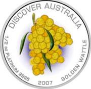 Australia 50 Dollars Golden wattle 2007 P Proof KM# 999 DISCOVER AUSTRALIA 1/2 OZ PLATINUM 9995 2007 GOLDEN WATTLE coin reverse