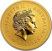Australia 50 Dollars Kangaroo bounding at sunset 2007 P KM# 1778 ELIZABETH II AUSTRALIA 50 DOLLARS coin obverse