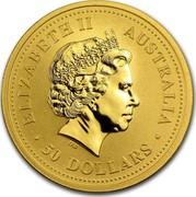 Australia 50 Dollars Kangaroo browsing 2002 KM# 899 ELIZABETH II AUSTRALIA 50 DOLLARS coin obverse