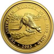 Australia 50 Dollars Kangaroo browsing 2002 KM# 899 AUSTRALIAN NUGGET 1/2 OZ. 9999 GOLD 2003 coin reverse