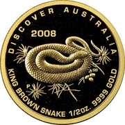 Australia 50 Dollars King brown snake 2008 P Proof KM# 1197 coin obverse