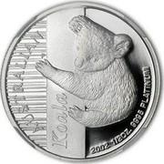 Australia 50 Dollars Koala 2002 Proof KM# 924 AUSTRALIAN KOALA 2002 1/2 OZ. 9995 PLATINUM coin reverse
