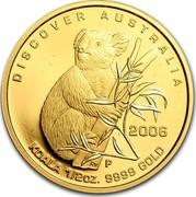Australia 50 Dollars Koala 2006 P Proof KM# 961 DISCOVER AUSTRALIA 2006 KOALA 1/2OZ. 9999 GOLD P RV coin reverse