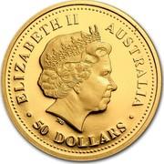 Australia 50 Dollars Kookaburra 2006 P Proof KM# 964 ELIZABETH II AUSTRALIA ∙50 DOLLARS∙ IRB coin obverse
