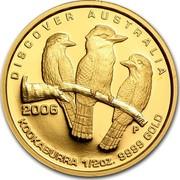 Australia 50 Dollars Kookaburra 2006 P Proof KM# 964 DISCOVER AUSTRALIA 2006 KOOKABURRA 1/2OZ. 9999 GOLD P WR coin reverse