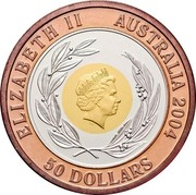 Australia 50 Dollars Olympic Games 2004 KM# 724 ELIZABETH II AUSTRALIA 2004 50 DOLLARS IRB coin obverse