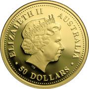 Australia 50 Dollars Platypus 2007 P Proof KM# 979 ELIZABETH II AUSTRALIA ∙50 DOLLARS∙ IRB coin obverse