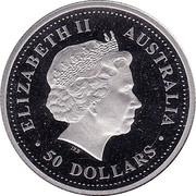 Australia 50 Dollars Red & Green Kangaroo Paw 2006 P Proof KM# 987 ELIZABETH II AUSTRALIA 50 DOLLARS IRB coin obverse