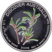 Australia 50 Dollars Red & Green Kangaroo Paw 2006 P Proof KM# 987 DISCOVER AUSTRALIA 1/2 OZ PLATINUM 9995 2006 RED & GREEN KANGAROO PAW coin reverse