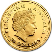 Australia 50 Dollars Salt water crocodile 2006 P Proof KM# 952 ELIZABETH II AUSTRALIA ∙50 DOLLARS∙ IRB coin obverse