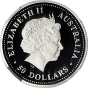 Australia 50 Dollars Single koala on branch 2004 Proof KM# 933 ELIZABETH II AUSTRALIA 50 DOLLARS coin obverse
