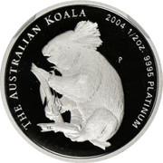 Australia 50 Dollars Single koala on branch 2004 Proof KM# 933 THE AUSTRALIAN KOALA 2004 1/2 OZ. 9995 PLATINUM P coin reverse