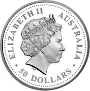 Australia 50 Dollars Sturt's desert pea 2007 P Proof KM# 993 ELIZABETH II AUSTRALIA ∙50 DOLLARS∙ IRB coin obverse