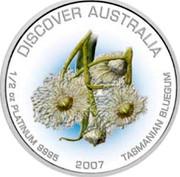 Australia 50 Dollars Tasmanian bluegum 2007 P Proof KM# 995 DISCOVER AUSTRALIA 1/2 OZ PLATINUM 9995 2007 TASMANIAN BLUEGUM coin reverse
