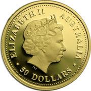 Australia 50 Dollars Tasmanian devil 2007 P Proof KM# 973 ELIZABETH II AUSTRALIA ∙50 DOLLARS∙ IRB coin obverse