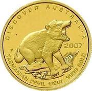 Australia 50 Dollars Tasmanian devil 2007 P Proof KM# 973 DISCOVER AUSTRALIA 2007 TASMANIAN DEVIL 1/2OZ. 9999 GOLD P RV coin reverse