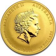 Australia 50 Dollars Year of the Rabbit 2011 KM# 1484 ELIZABETH II AUSTRALIA 1/2 OZ 9999 GOLD 2011 50 DOLLARS coin obverse