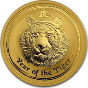Australia 50 Dollars Year of the Tiger 2010 KM# 1376 YEAR OF THE TIGER P coin reverse