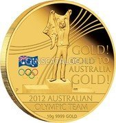Australia 60 Dollars Olympic Team - Gold to Australia! 2012 KM# 1696 GOLD! GOLD TO AUSTRALIA GOLD! 2012 AUSTRALIAN OLYMPIC TEAM 10 G 9999 GOLD P WR coin reverse