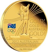 Australia 60 Dollars Olympic Team - Gold to Australia 2012 KM# 1696 GOLD! GOLD TO AUSTRALIA GOLD! 2012 AUSTRALIAN OLYMPIC TEAM 10 G 9999 GOLD P WR coin reverse