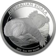 Australia 8 Dollars Australian Koala 2012 KM# 1841 AUSTRALIAN KOALA 2012 5 OZ 999 SILVER P AH coin reverse