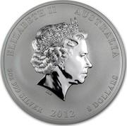 Australia 8 Dollars Year of the Dragon 2012 KM# 1794 ELIZABETH II AUSTRALIA 5 OZ 999 SILVER 2012 8 DOLLARS IRB coin obverse