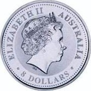 Australia 8 Dollars Year of the Monkey 2004 KM# 743 ELIZABETH II AUSTRALIA 8 DOLLARS IRB coin obverse