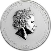 Australia 8 Dollars Year of the Mouse 2008 KM# 1757 ELIZABETH II AUSTRALIA 5 OZ 999 SILVER 2008 8 DOLLARS IRB coin obverse