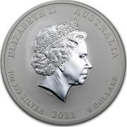 Australia 8 Dollars Year of the Rabbit 2011 KM# 1477 ELIZABETH II AUSTRALIA 5 OZ 999 SILVER 2011 8 DOLLARS IRB coin obverse