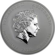 Australia 8 Dollars Year of the Tiger 2010 KM# 1371 ELIZABETH II AUSTRALIA 5 OZ 999 SILVER 2010 8 DOLLARS IRB coin obverse