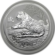 Australia 8 Dollars Year of the Tiger 2010 KM# 1371 YEAR OF THE TIGER P coin reverse