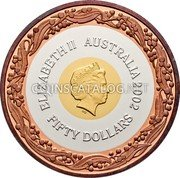 Australia Fifty Dollars Commonwealth Games Manchester 2002 KM# 648 ELIZABETH II AUSTRALIA 2002 FIFTY DOLLARS IRB coin obverse
