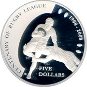 Australia Five Dollars Centenary of Rugby League 2008 KM# 1053 CANTENARY OF RUGBY LEAGUE 1908-2008 FIVE DOLLARS coin reverse