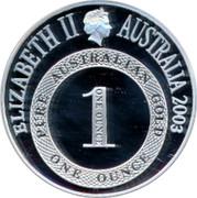 Australia Five Dollars Port Phillip 2003 KM# 765 ELIZABETH II AUSTRALIA 2003 PURE AUSTRALIAN GOLD 1 ONE OUNCE ONE OUNCE coin obverse