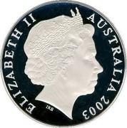 Australia Five Dollars Rugby World Cup 2003 KM# 810 ELIZABETH II AUSTRALIA 2003 IRB coin obverse