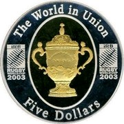 Australia Five Dollars Rugby World Cup 2003 KM# 810 THE WORLD IN UNION IRB RUGBY WORLD CUP 2003 IRB RUGBY WORLD CUP 2003 FIVE DOLLARS coin reverse