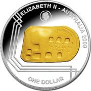 Australia One Dollar 1852 Adelaide Assay Office Gold Ingot 2009 Proof ELIZABETH II - AUSTRALIA 2009 ONE DOLLAR coin obverse