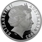 Australia One Dollar Australian Kangaroo 2002 KM# 642 ELIZABETH II AUSTRALIA 2002 IRB coin obverse