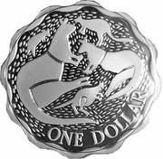 Australia One Dollar Five Kangaroos Scalloped 2004 Proof ONE DOLLAR coin reverse