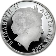 Australia One Dollar Kangaroo 2009 KM# 1083 ELIZABETH II AUSTRALIA 2009 IRB coin obverse