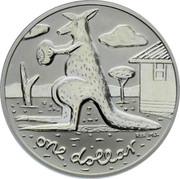 Australia One Dollar Kangaroo with ball 2008 KM# 1061 ONE DOLLAR coin reverse