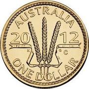 Australia One Dollar Wheat Sheaf 2012 KM# 1732 AUSTRALIA 20 12 ONE DOLLAR K G C coin reverse