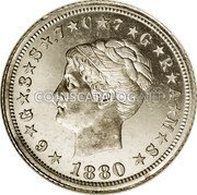 USA One Stella 1 Stella / 4 Dollars 1880  KM# Pn1747 ★6★G★.3★S★.7★C★7★G★R★A★M★S★ LIBERTY 1880 coin obverse