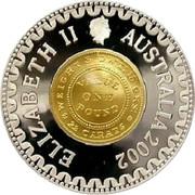 Australia Ten Dollars Adelaide Pound 2002 KM# 661 ELIZABETH II AUSTRALIA 2002 WEIGHTS DWT: 15 GRS: VALUE ONE POUND 22 CARATS coin obverse