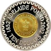 Australia Ten Dollars Adelaide Pound 2002 KM# 661 1852 ADELAIDE POUND 2002 GOVERNMENT ASSAY OFFICE 1952 ADELAIDE TEN DOLLARS coin reverse