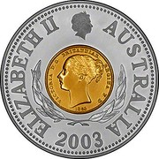 Australia Ten Dollars Australian Sydney Mint One Sovereign 2003 KM# 751 ELIZABETH II AUSTRALIA VICTORIA D: G: BRITANNIAR: REGINA F: D: 1853 2003 coin obverse