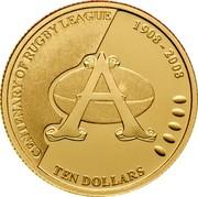 Australia Ten Dollars Centenary of Rugby League 2008 Proof KM# 1054 CENTENARY OF RUGBY LEAGUE 1908-2008 TEN DOLLARS coin reverse